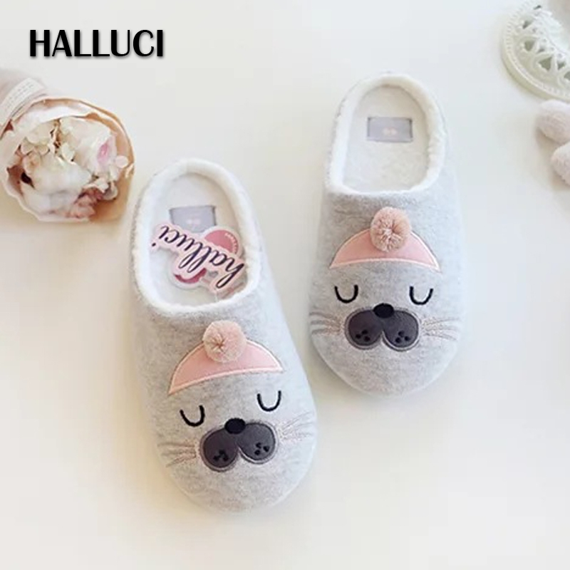 HALLUCI Hot sale lovely Cartoon sea dog home slippers woman shoes casual soft winter women Slippers keep warm women shoes