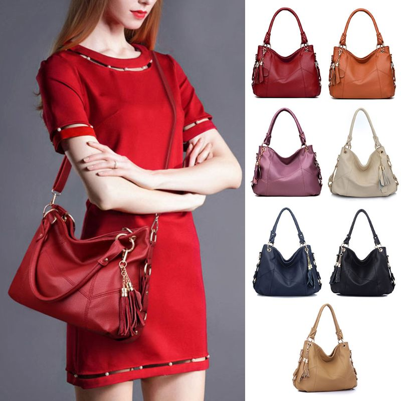 Fashion Women Tassel Leather Handbag Shoulder Bag Ladies Female Casual Purse Tote Messenger Satchel Crossbody Top Handle Bag New