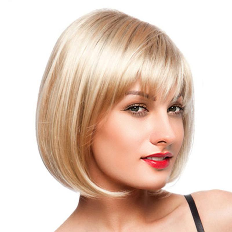 цена на Women Short Straight Blonde Full Bangs Bob Hairstyle Synthetic Hair Full Wig DE11