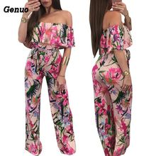 Genuo Bohemian Palm Print Lace Up Jumpsuits&Rompers Off Shoulder Plus Size Women Jumpsuit Summer Beach Sexy Overalls