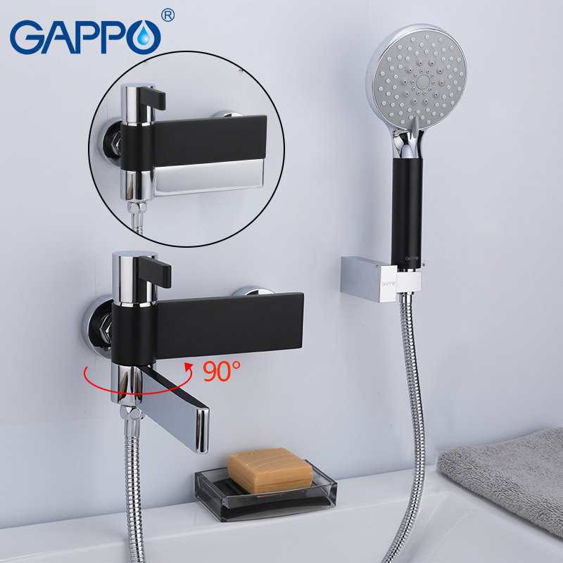 GAPPO Shower Faucets Brass Water Tap Chrome And Black Bath Faucet Mixer Shower Set  Basin Faucet Torneira Do Anheiro