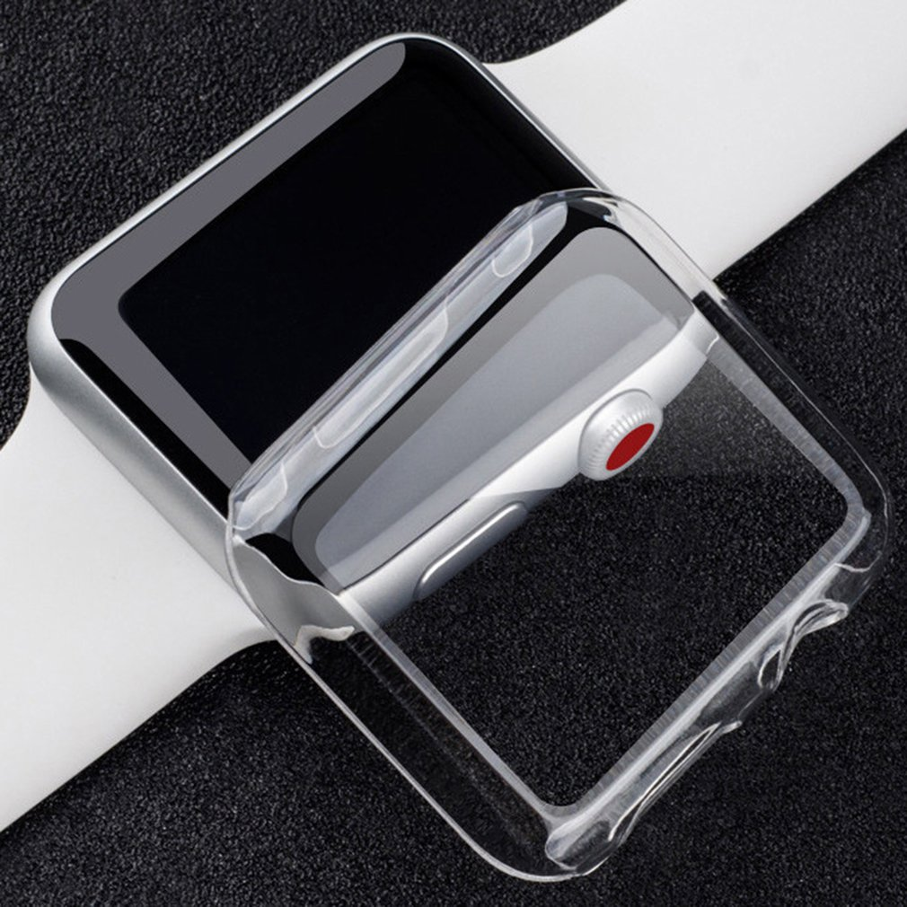 Clear Soft TPU Full Protect Cover For Apple Watch Case 38mm 42mm For IWatch Series 4 3 2 Cover Shell Band