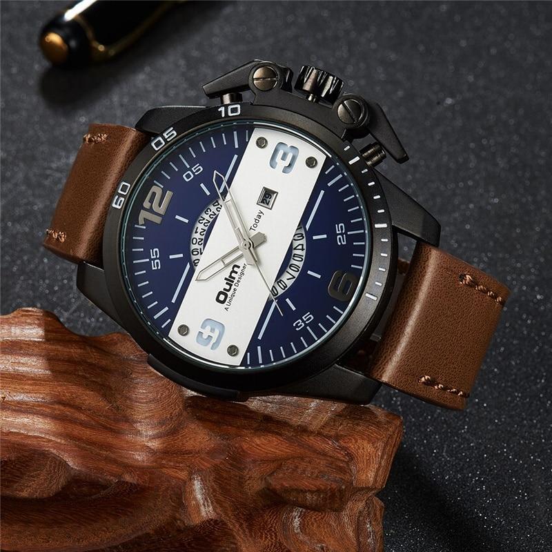 e2525b0e820 Oulm Novo Design Grande Relógio Dos Homens Do Esporte Legal Botão Auto Data  relógio de Pulso