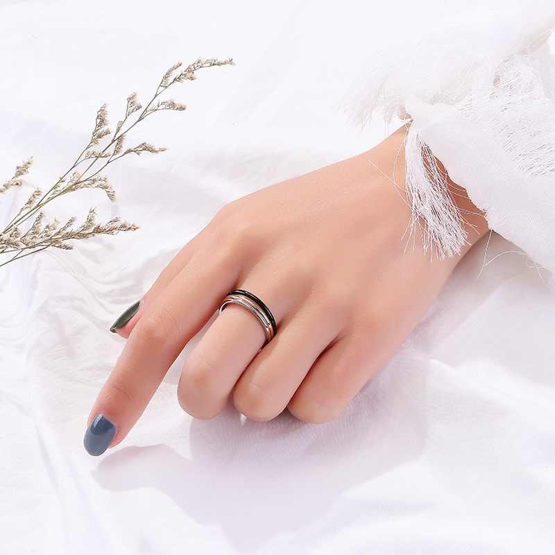 2019 ラウンド女性女の子薄型ステンレス鋼結婚指輪シンプルファッションジュエリー卸売ビジュー婚約リング