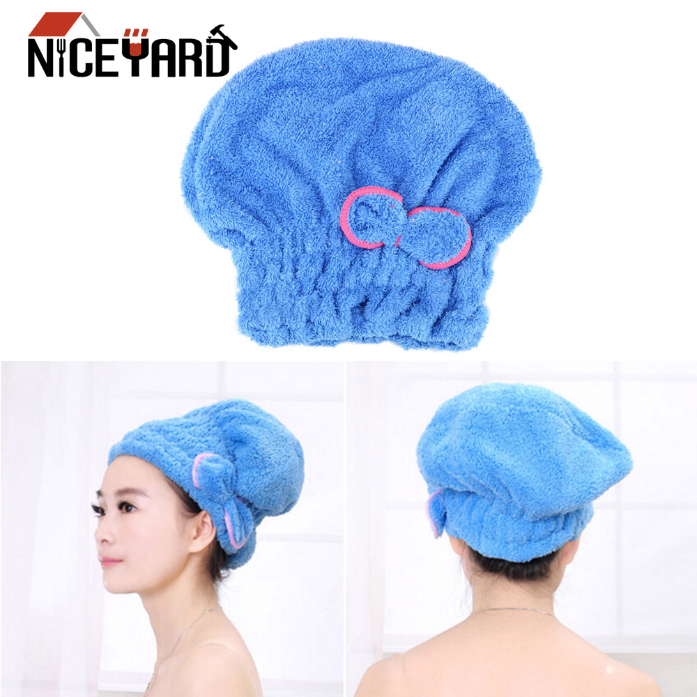 Bathing Quickly Microfiber Wrapped Hair Towel Hat Cap Bath Towel Shower Hat