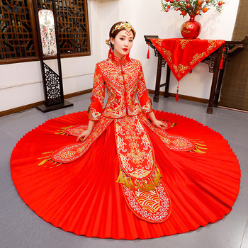 Plus Size XS-3XL Women Vintage Tassels Pleated Dress Royal Bride Formal Gowns Marriage Cheongsam Suit Red Embroidery Qipao