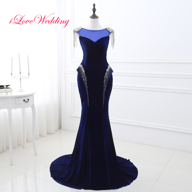 Royal Blue Mermaid Evening Dresses Scoop Neckline Cap Sleeve Beading Velour Bandage Evening Gowns For Bridal Party Dresses
