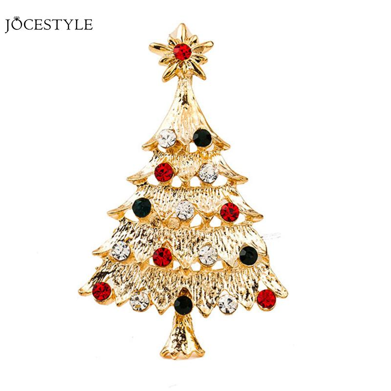 Cute Crystal Christams Tree Pin Brooches For Women Fashion High end ...