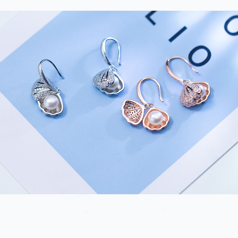 MloveAcc 925 Sterling Silver Rose Gold Color Shell Shape Drop Earrings for Women Luxury Pearl Earrings Brincos Fine Jewelry newshe 925 sterling silver rose gold color dangle drop earrings 6 ct red rhinestone heart shape aaa cz fashion jewelry for women
