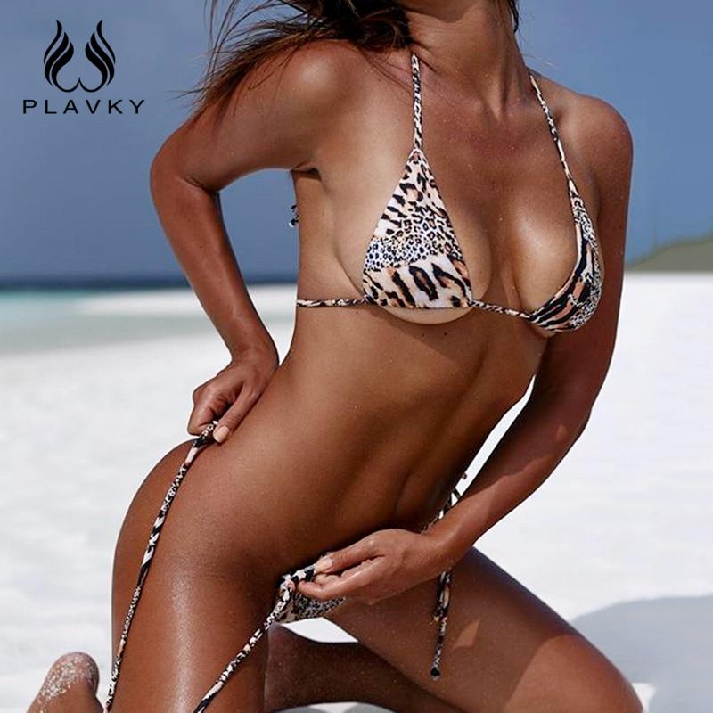 PLAVKY 2018 Sexy Leopard Halter Bandage String Biquini High Cut Swim Bathing Suit Swimsuit Micro Swimwear Women Brazilian Bikini
