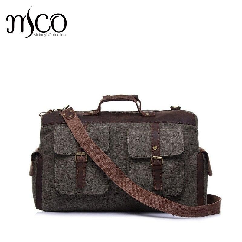Melodycollection Холст Кожа Для мужчин дорожные сумки нести на Бизнес сумка спортивная сумка большая выходные портфели ноутбук сумки ...