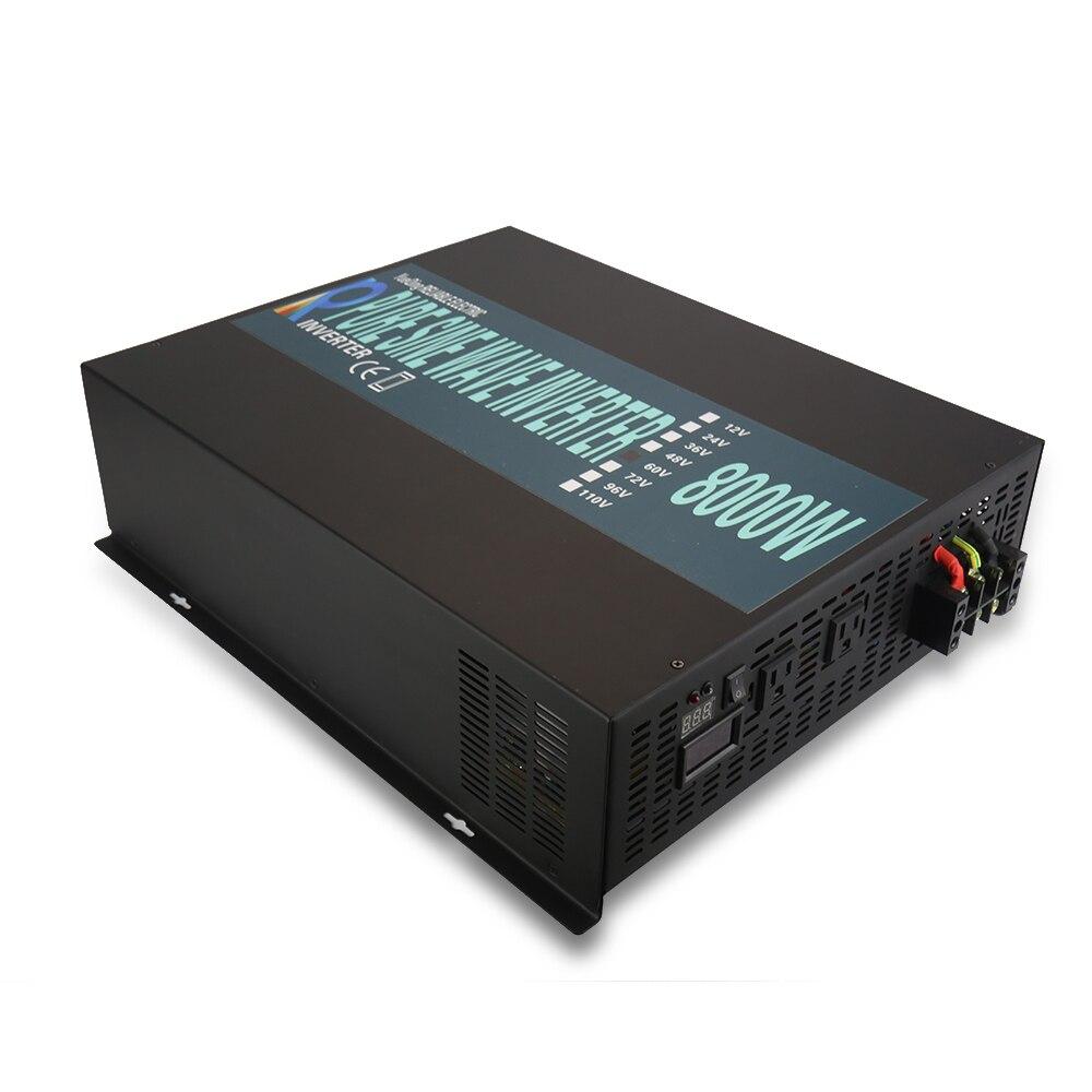 8000W Solar Power Inverter 24V to 220V Pure Sine Wave Inverter Wind Generator 12V/48V/72/96V/110V DC to 120V/230V/240V AC Remote solar power inverter 1000w 12v 220v pure sine wave inverter generator car battery pack converter 12v 24v dc to 110v 120v 240v ac