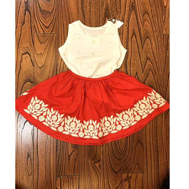 ecfeb6395 US $11.95 8% OFF|Children skirt embroidery floral pattern baby girls skirt  red colour tiny cotton skirts for girls boutique toddler baby clothes -in  ...