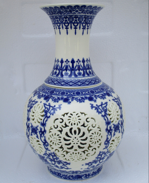 Antique Collection Of Ancient Chinese Ceramic Vaseblue Pierced