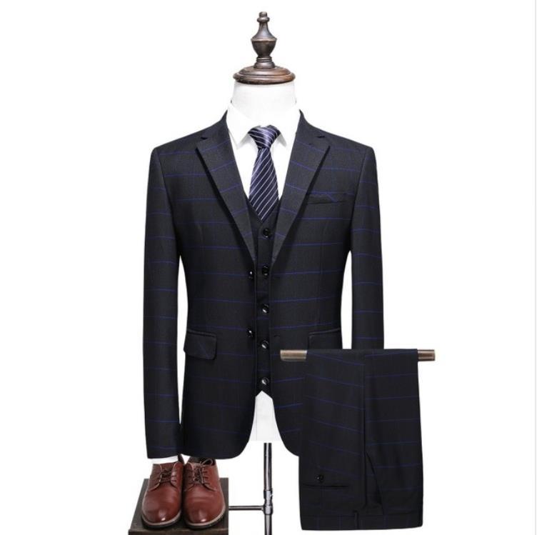 Classic Mens Suit Slim Fit Coat Stripe Wedding Suits Tuxedo Prom Suits 3 Pieces Business Suit(Jacket+Vest+Pants) Costume Homme