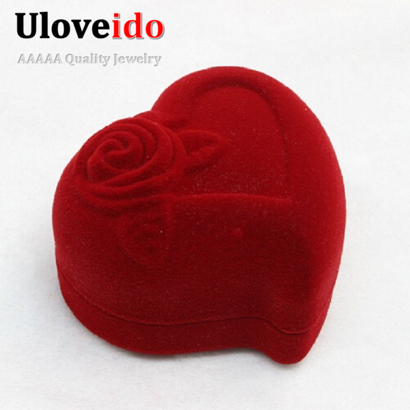 Gift Jewelry Box Display Acrylic Boxes and Packaging Red Heart Flower Wedding Earrings Ring Necklace Box for Decoration Ulove