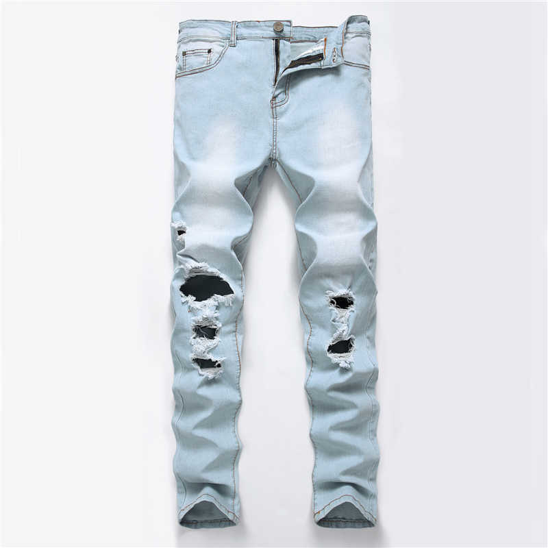 2019 New Fashion Ripped Jeans Men With Holes Denim Super Famous Slim Fit Jean Pants Scratched Hip Hop elastic Jeans Dropshipping