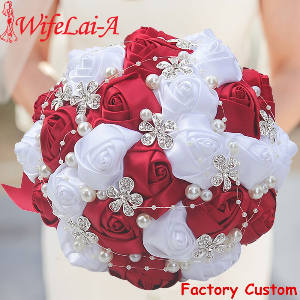 WifeLai-A 1Piece Best Selling Red Artificial Flower Bridal Bouquets Crystal Pearls Bridesmaid Bridal Wedding Bouquets W224