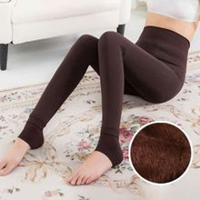 цена на Womens High Waist Stretchy Thicken Faux Fleece Lined Tights Warm Solid Color Skinny Footless Push Up Slim Full Length
