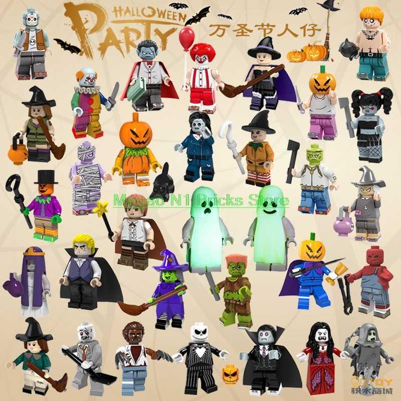 Для Хэллоуина страшный крик убийца тема призрак Grinch маска Охотник-черный Джек пятница Джейсон вампир строительные блоки игрушки фигурка