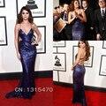 Alfombra roja Vestido de La Celebridad V Neck Purple Sequin Vestidos Formales Largos Vestidos de Selena Gomez Backless Vestido de Fiesta de Noche ED09