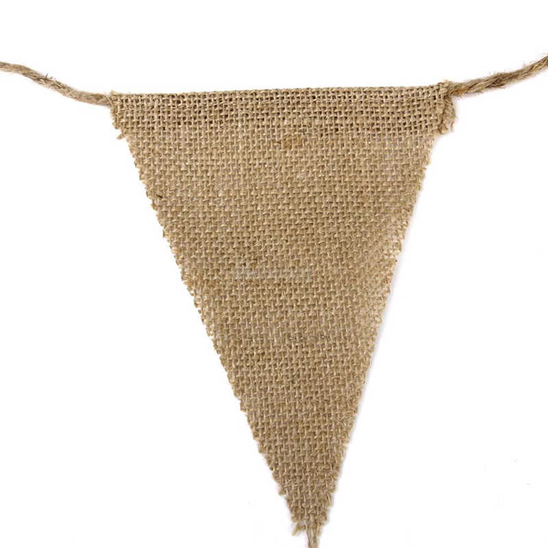 Burlap Banners Pennant Jute Hessian Linen Natural Rustic Wedding Party Supplies Wedding Decoration Ribbon