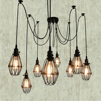 5 6 8 10 12 Heads Vintage Industrial Edison Black Iron Cages Loft Country Style Retro