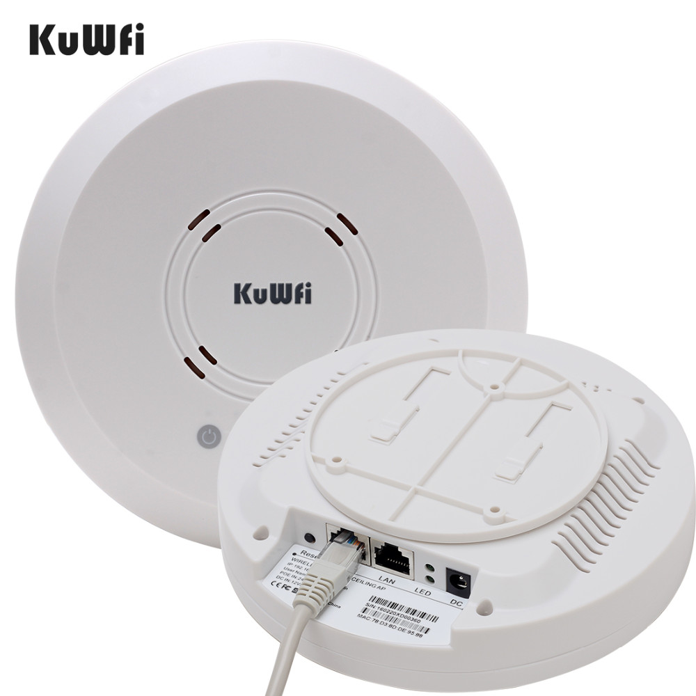 Image 2 - Kuwfi 300Mbps Indoor Ceiling Mount Wireless Access Point Controller System Wireless Router Long Coverage For Hotel/School-in Wireless Routers from Computer & Office