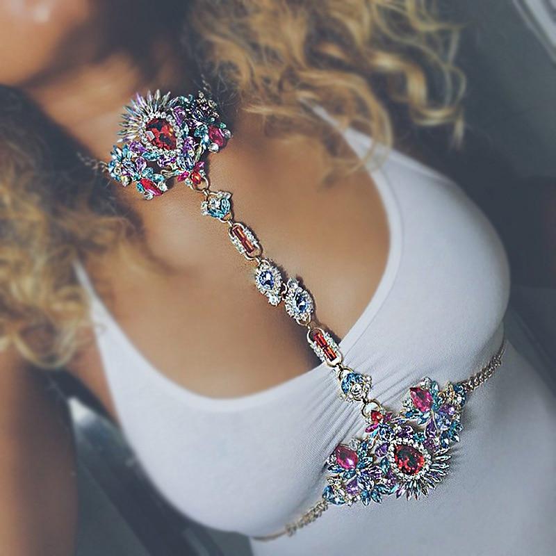 New Sexy Design Luxury Crystal Body Chain Fashion Maxi Waist Chain Statement Jewelry For Women Statement Necklace Body Jewelry