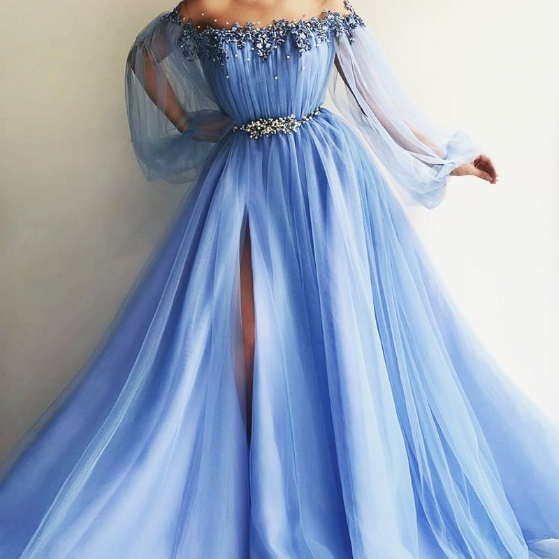 Pretty Sky Blue Pearls   Evening     Dresses   2018 With Sheer Full Puff Sleeves Appliques Fashion   Evening   Gowns High Side Split Abiye
