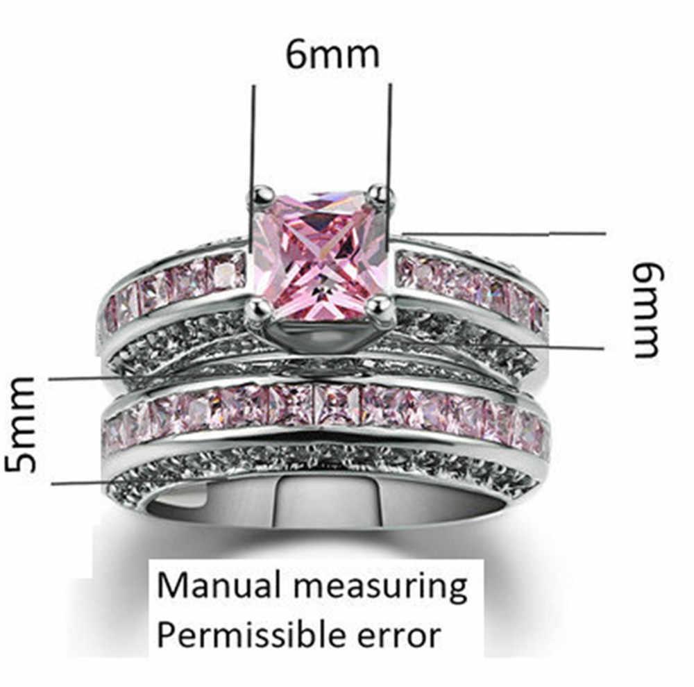 Розовый циркон обручальные серебряные золотые обручальные кольца для женщин Двойные Скошенные партия цветок саржа крест песок пара кольцо для женщин
