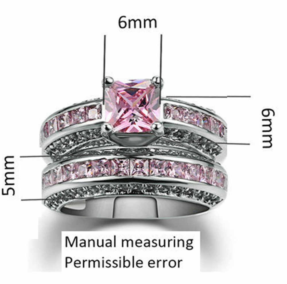 Pink Zircon Engagement Silver Gold Wedding Rings For Women Double Beveled Batch Flower Twill Cross Sand Couple Ring For Female