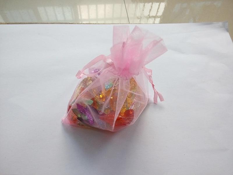 2000 pièces 9*12 petits sacs-cadeaux roses pour bijoux/mariage/noël/anniversaire sacs en Organza avec poignées emballage sac de fil