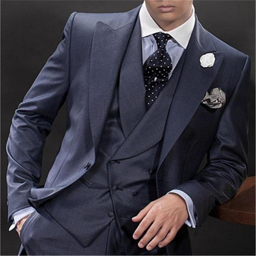 New Navy Blue Italian Men Suit 3 Piece Double Breasted Formal Skinny Custom Prom Blazer Masculino 096 (Jacket+Pants+Vest+Tie)