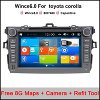 8 inch capacitive 800*480 car dvd gps player for toyota corolla 2007-2011 with radio rds ipod a2dp support dvr free maps/camera