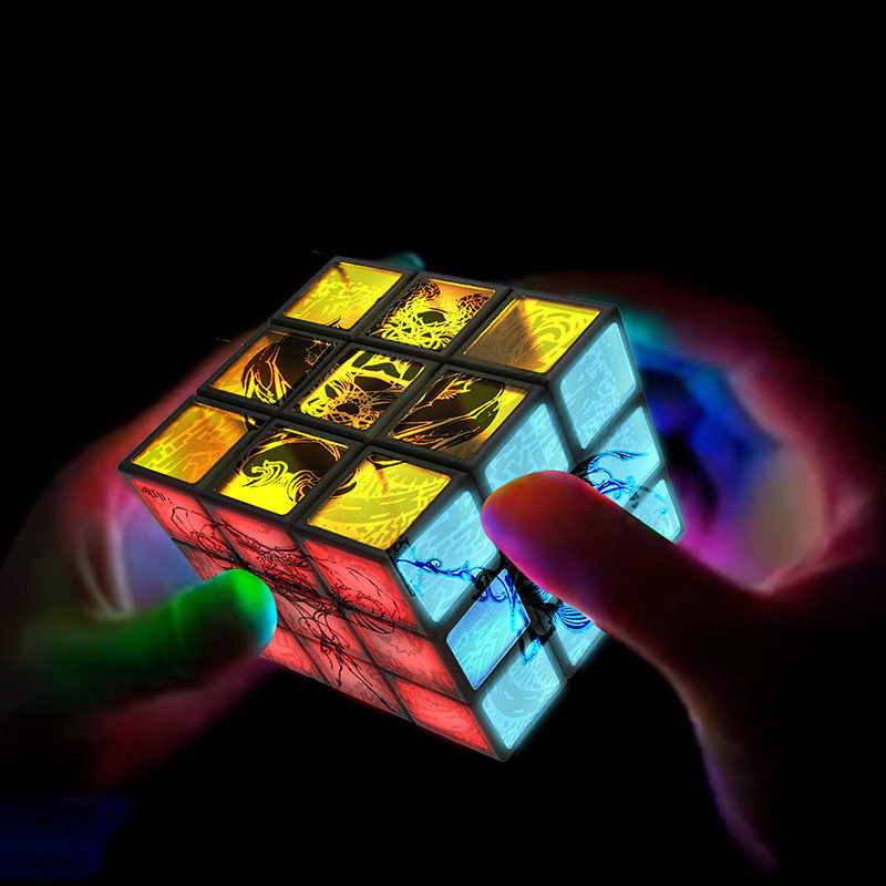 Rubik's Cube Electronic Cube Led Shows Third-Order Personality Cube Children's Toys Glow In Dark Magic Cube Puzzle Toy Luminous yj guanlong speed third order magic cube toy