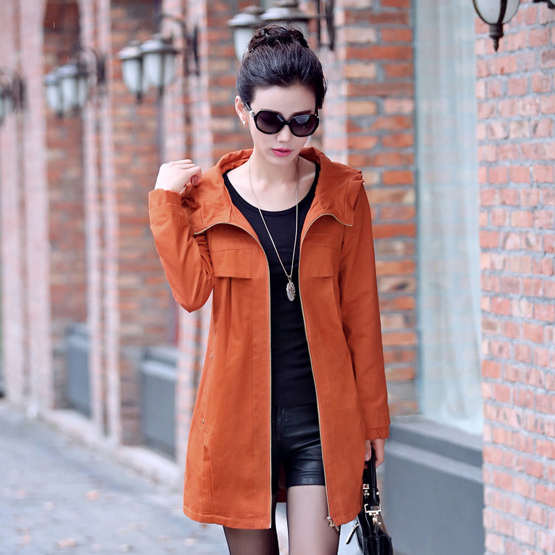 New Spring Autumn Women Middle Long Hooded   Trench   Coats Casual Long Sleeve Windbreaker Street Fashion Outwear Plus Size M-4XL