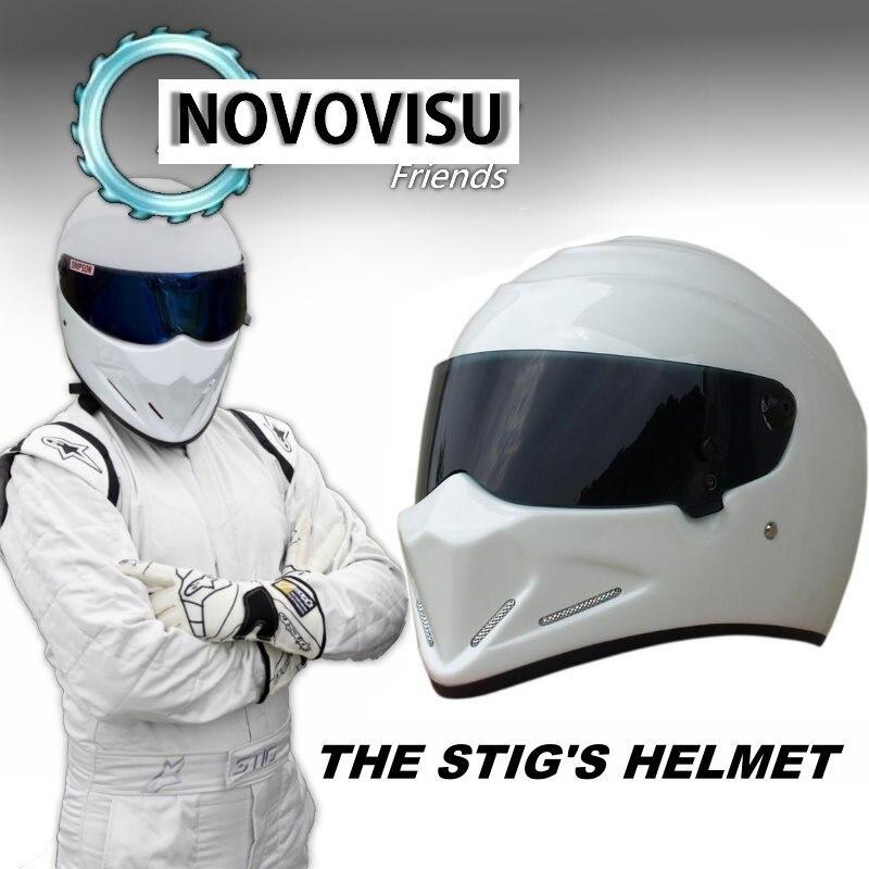 купить NOVOVISU For Top Gear The STIG Helmet Casco De Motocicleta with Black Visor Capacete as SIMPSON Pig White Motorcycle Casque по цене 5040.8 рублей