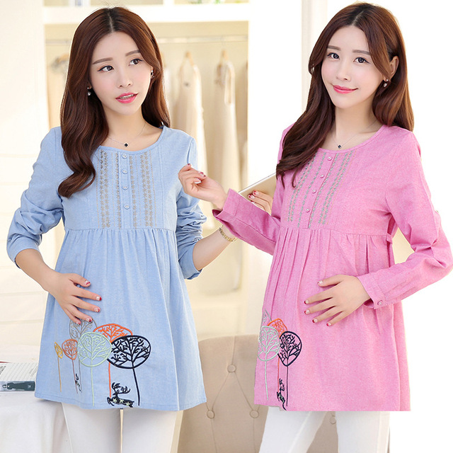 27de6c573a8e5 Autumn Spring Sweet Loose Maternity Tops For Pregnant Women Shirt  Embroidery Long Sleeve Maternity Dresses Clothing