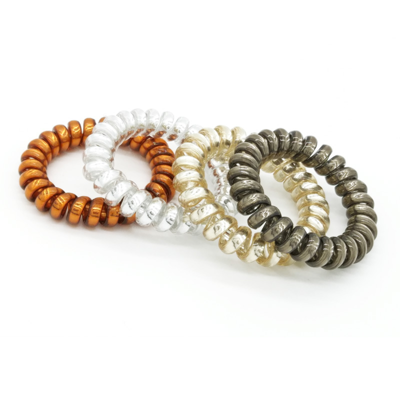 4 Pcs/Lot 4 Colors Size 5.5 CM Telephone Cord Phone Plastic Strap Rubber Holders Hair Bands Rope Ties Hair Accessories