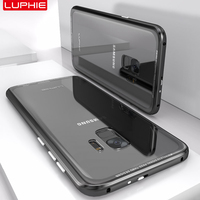 LUPHIE For Samsung Galaxy S9 Case Cover Luxury Hard Metal Aluminum Transparent Tempered Glass Back Cover Phone Case for S9 Plus