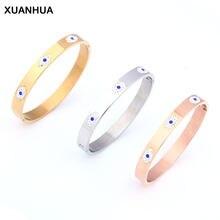 Xuanhua pulseira de aço inoxidável para as mulheres moda evil eye bangle cristal de luxo pulseira indiana bangles feminino accessorie