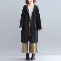 Korean Casual Denim Trench Coat Hooded Autumn Loose Large Size Pocket Jeans Windbreaker Female Black Long Coat Outerwear LQ646