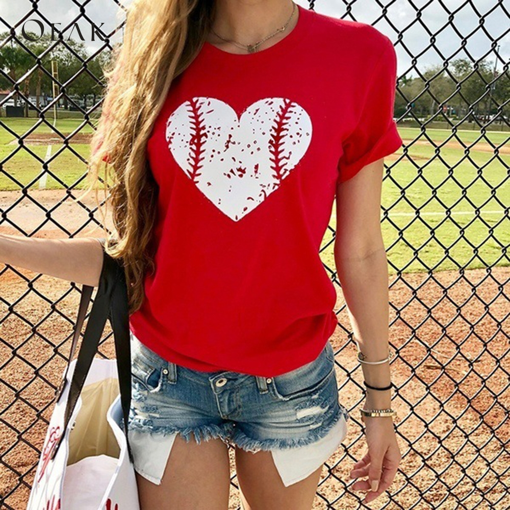 Oeak 2019 Summer Women's Short Sleeve T-Shirt Love Baseball Print Fashion Casual O-Neck Tops Femme Funny Daily Loose Tee