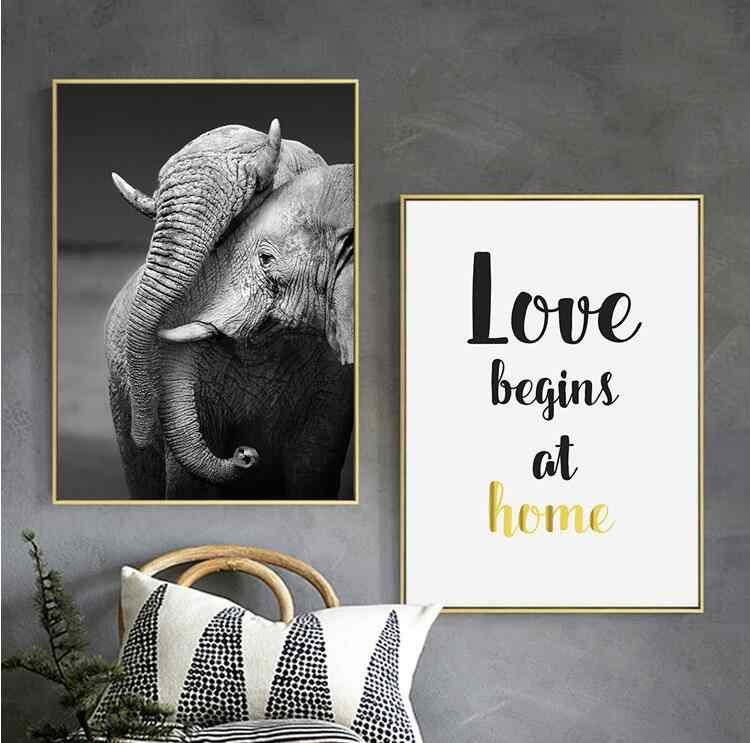 Elephant Animal text Posters And Prints Wall Art Canvas Painting Animal Canvas Art Photography Wall Pictures For Living Room Dec