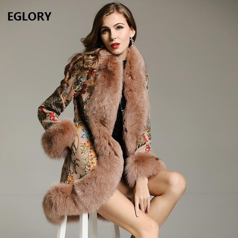 Top qualité fourrure vestes 2018 hiver femmes véritable fourrure de renard Patchwork laine Cardigans vestes dame perles broderie laine Outwear