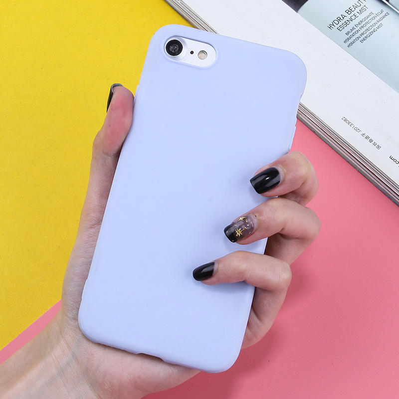 Candy Color Silicone Phone Case For iPhone XR X XS Max 7 8 Plus 6 6S 5 5S SE Cute TPU Back Cover Coque For iPhone X XR XS Max in Fitted Cases from Cellphones Telecommunications