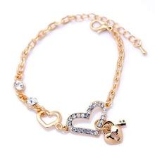 Heart Shape Charm Bracelets Jewelry for Women Fashion Chain Link Bracelet with Crystal