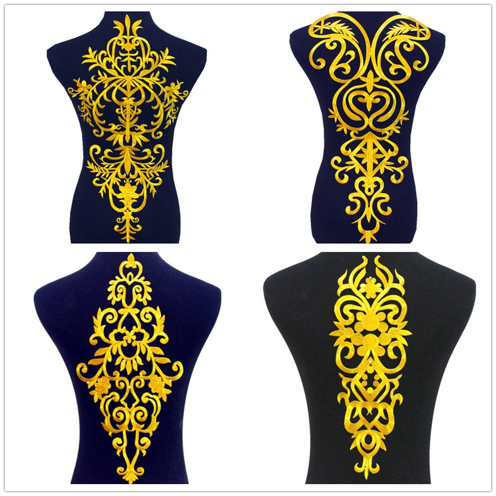 Iron On Appliques Big Flower Gold Embroidered Patches For Garment Europe Vintage Golden Cosplay Costumes Diy Trims