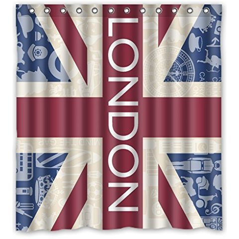 66Wx72H Inch Waterproof Bathroom British Union Jack Shower Curtain To Fit Bath Tubs